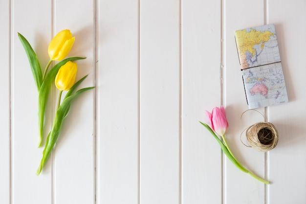 Vue de dessus de la surface en bois avec des tulipes, carte du monde et de la corde Photo gratuit