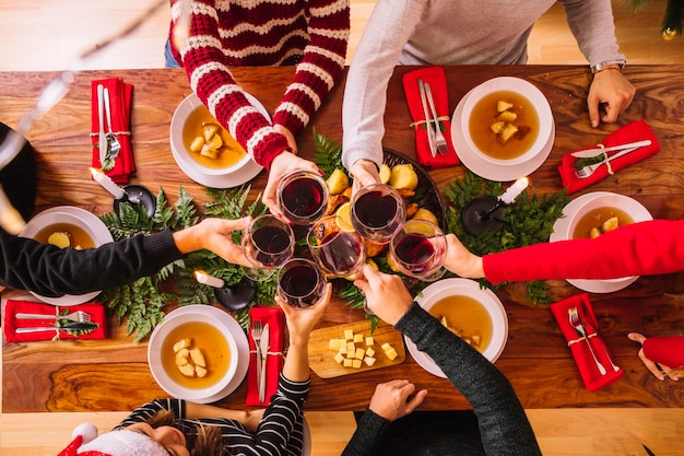 Vue de dessus du dîner de Noël Photo gratuit