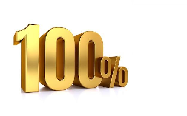 100% di sconto. in vendita. ottimo affare cento. metà. illustrazione rendering testo 3d isolato con grandi caratteri dorati su sfondo bianco. Foto Premium