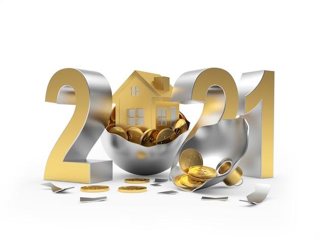 2021 e icona della casa sulla palla di natale rotta con monete Foto Premium
