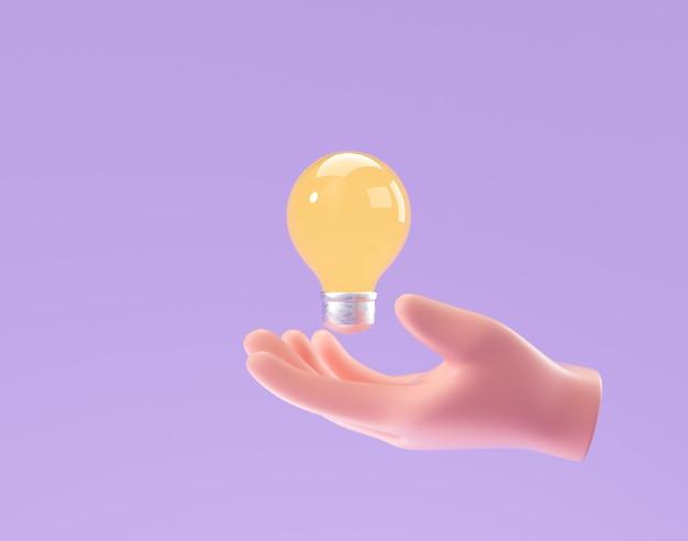 3d cartoon mano che tiene la lampadina su sfondo viola. pensiero, buona idea e concetto creativo di successo aziendale. 3d render illustrazione Foto Premium