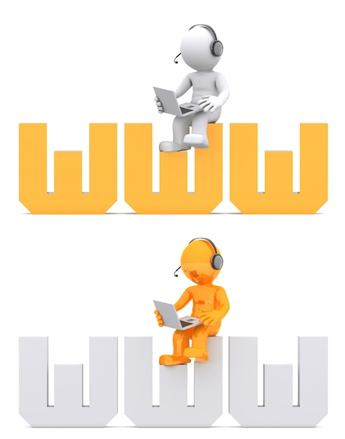 Personaggio 3d seduto sul segno del dominio www. Foto Premium