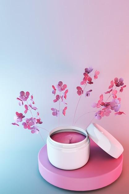 Barattolo di cosmetici 3d, prodotto cosmetico di bellezza per la cura del viso su sfondo sfumato blu rosa con fiori primaverili, design della confezione di crema per il viso. Foto Premium
