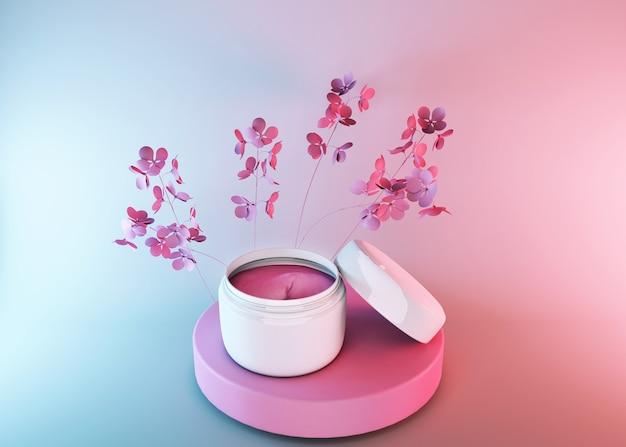 Barattolo di cosmetici 3d, prodotto cosmetico di bellezza per la cura femminile su superficie sfumata blu rosa con fiori primaverili, design della confezione di crema per il viso. identità e ispirazione per il packaging Foto Premium