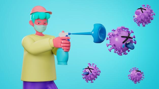 3d illustrano il personaggio dei cartoni animati usando la mano detergente con gel di alcol per proteggere il virus dell'influenza e della corona covid-19. Foto Premium