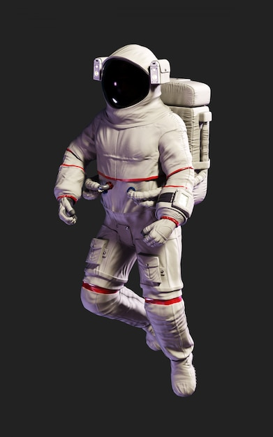 Posa dell'astronauta dell'illustrazione 3d contro isolata su fondo nero con il percorso di ritaglio. Foto Premium
