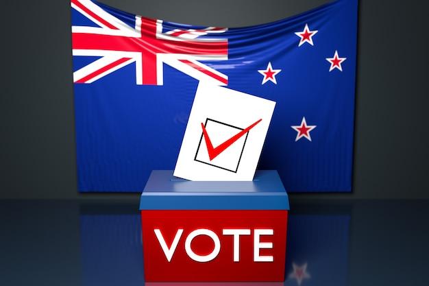 3d illustrazione di un urne o urne con la bandiera nazionale australiana in superficie. Foto Premium