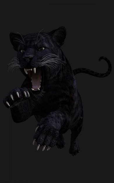 Isolato della pantera nera dell'illustrazione 3d sul nero | Foto Premium