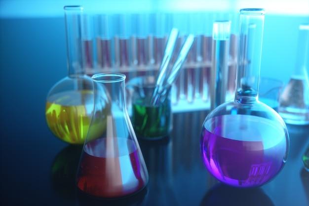 Illustrazione 3d di una reazione chimica, il concetto di un laboratorio scientifico su una priorità bassa blu. boccette piene di liquidi colorati con diverse composizioni. Foto Premium