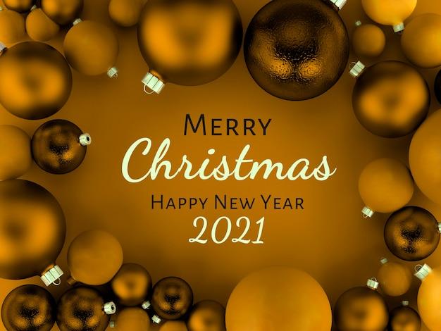 Illustrazione 3d, cartolina d'auguri dorata del fondo delle palle di natale, buon natale e felice anno nuovo Foto Premium