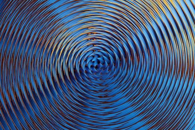 Illustrazione 3d di un pattern ipnotico. astratto sfondo blu con cerchi luccicanti e glitter. design di sfondo lussuoso Foto Premium
