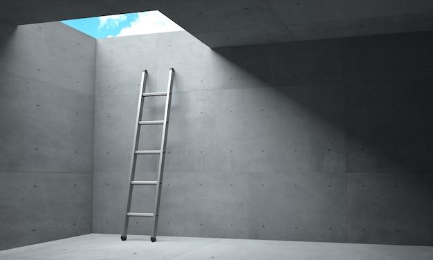 Illustrazione 3d. luce alla fine del corridoio e un portello di scala verso il cielo. Foto Premium