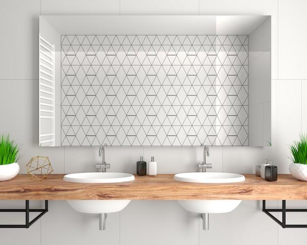 Illustrazione 3d. moderna doccia in vetro in stile loft. Foto Premium