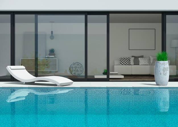 Illustrazione 3d. villa moderna sul mare con piscina e lettini. Foto Premium
