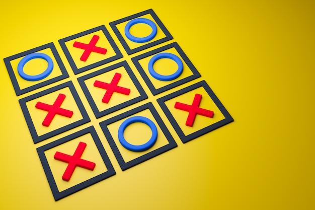 Illustrazione 3d di un gioco tris senza lato vincente in stile cartone animato su sfondo giallo. gioco e disegna illustrazione. Foto Premium