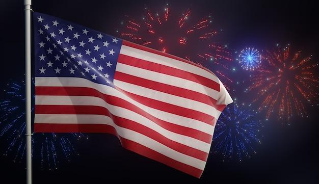 Illustrazione 3d della bandiera americana degli stati uniti che fluttua nel vento con i fuochi d'artificio Foto Premium