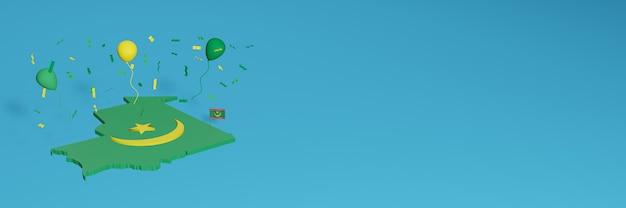Rendering 3d della mappa in combinazione con la bandiera della mauritania per i social media e copertine di sfondo del sito web aggiunto palloncini verdi gialli per celebrare il giorno dell'indipendenza e la giornata nazionale dello shopping Foto Premium