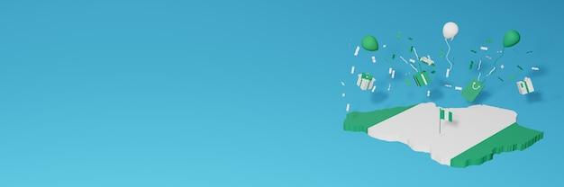 Rendering 3d della mappa della bandiera della nigeria per celebrare la giornata nazionale dello shopping e il giorno dell'indipendenza Foto Premium