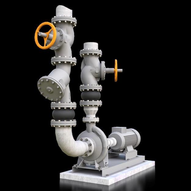 Modello 3d di una sezione industriale del tubo e della pompa con le valvole di intercettazione su uno spazio isolato nero. illustrazione 3d Foto Premium