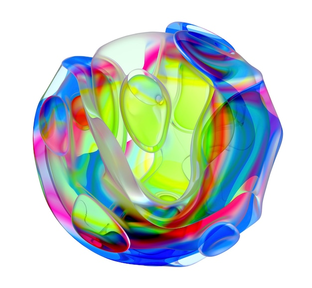 Rendering 3d di un pezzo di arte astratta di scultura in vetro con fiore alieno surreale in curva organica tondo ondulato liscio Foto Premium