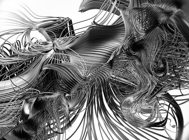Rendering 3d di arte astratta del surreale Foto Premium