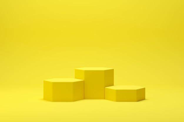 3d rendono la scena astratta del podio di forma della geometria con fondo giallo per esposizione e prodotto Foto Premium