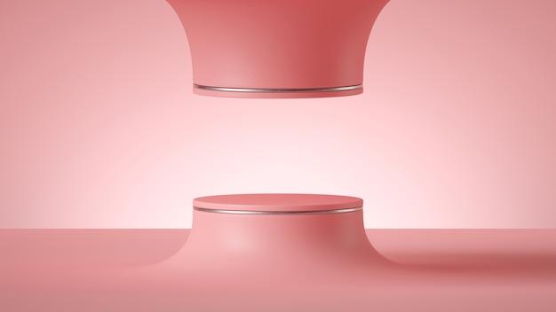 Rendering 3d di sfondo rosa futuristico minimo astratto con podio cilindro vuoto o palco rotondo. Foto Premium
