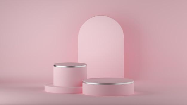 Rendering 3d di sfondo rosa moderno minimo astratto con podio moda cilindro vuoto. Foto Premium