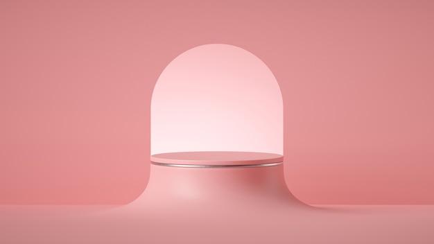 3d render astratto sfondo rosa minimo, piedistallo cilindro vuoto con arco rotondo art deco. Foto Premium