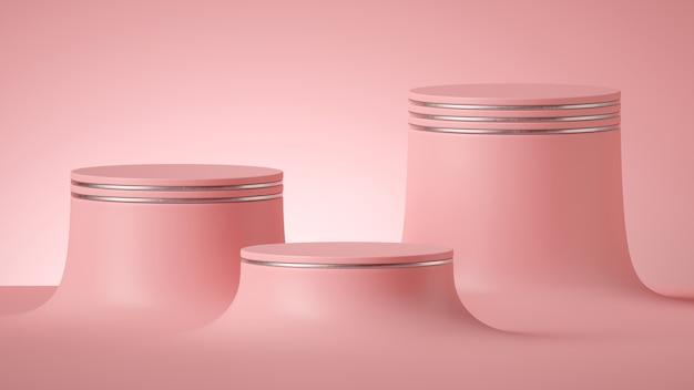 Rendering 3d di sfondo rosa minimo astratto con piedistalli cilindro vuoto. Foto Premium