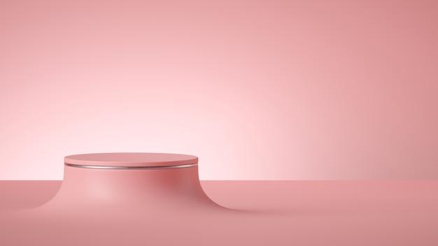 Rendering 3d di sfondo rosa minimo astratto con podio cilindro vuoto o palco rotondo. Foto Premium