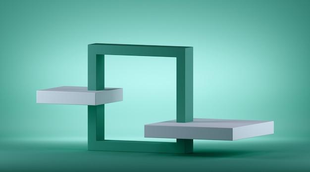 Rendering 3d di sfondo geometrico verde menta astratto con cornice quadrata isometrica. Foto Premium