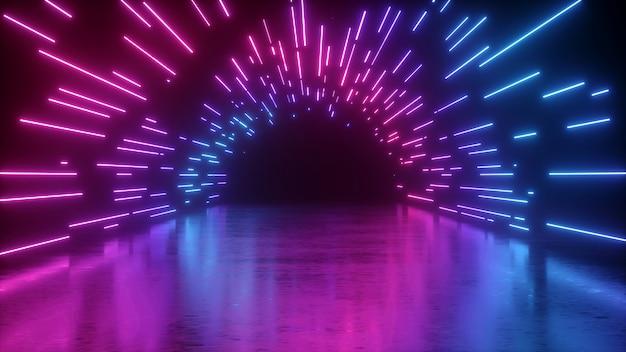 Rendering 3d di tunnel al neon astratto Foto Premium