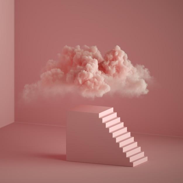 Rendering 3d di sfondo fantasia rosa astratta. cloud fluttuante sopra il piedistallo con scale, podio cubico. metafora del sogno Foto Premium