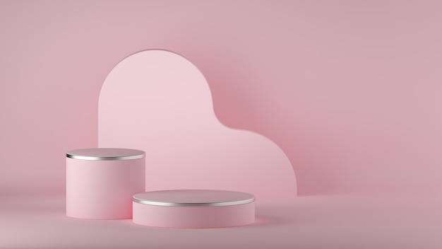 Rendering 3d di sfondo rosa astratto minimo. podio del cilindro vuoto. Foto Premium