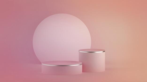 Rendering 3d di sfondo minimal moderno rosa astratto. podio del cilindro Foto Premium