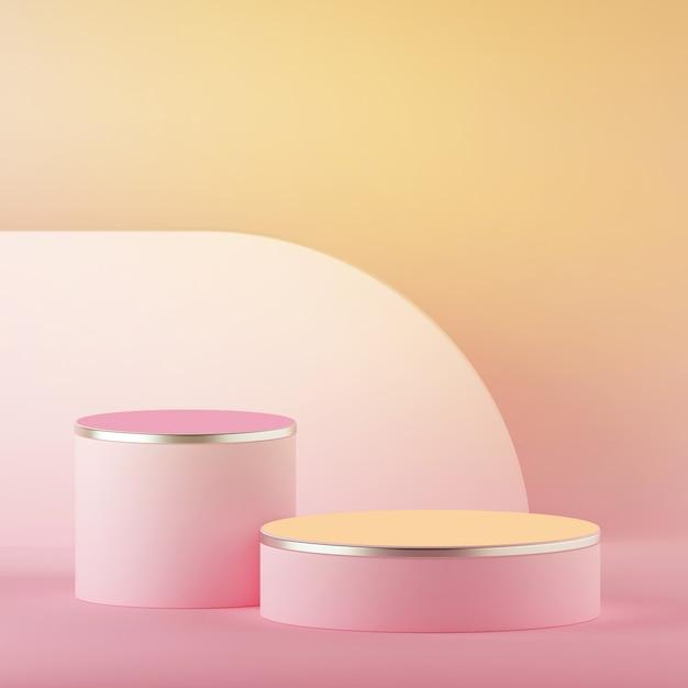 Rendering 3d di pasqua pastello rosa giallo astratto con podio cilindro vuoto Foto Premium