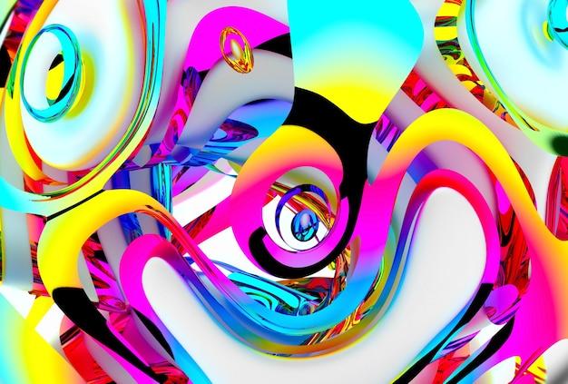 Rendering 3d di arte astratta colorata Foto Premium