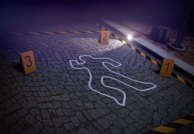 Rendering 3d della scena del crimine con silhouette Foto Premium
