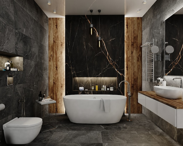 3d render design bagno interno Foto Premium