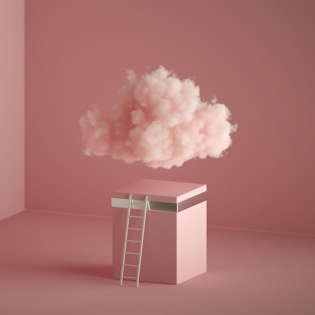 Rendering 3d di una nuvola soffice, scala vicino al piedistallo cubico, interiore minimo della stanza. Foto Premium