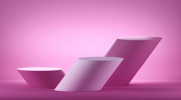 Rendering 3d di piedistallo cilindro inclinato con podio vuoto. stand vuoto per esposizione prodotti, vetrina commerciale. Foto Premium