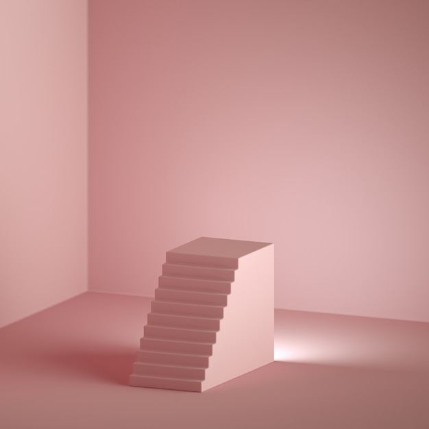 3d rendono il fondo rosa minimo con lo spazio della copia. Foto Premium