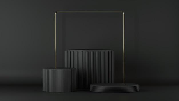 Rendering 3d di sfondo nero minimalista con podio cilindro vuoto e cornice quadrata dorata. Foto Premium