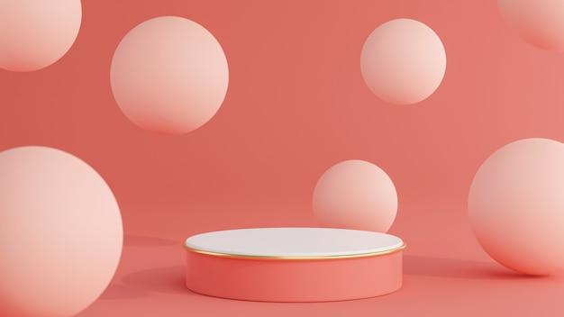 Rendering 3d del podio rosa con sfera per la visualizzazione del prodotto Foto Premium