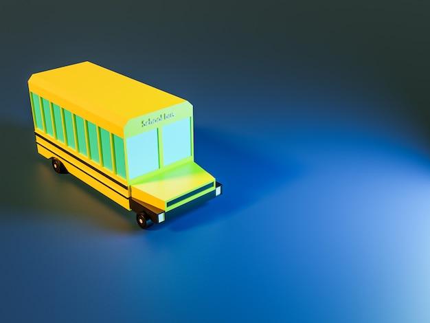 3d rendono degli alberi e dello scuolabus su fondo blu nei colori al neon. torna al concetto di scuola Foto Premium