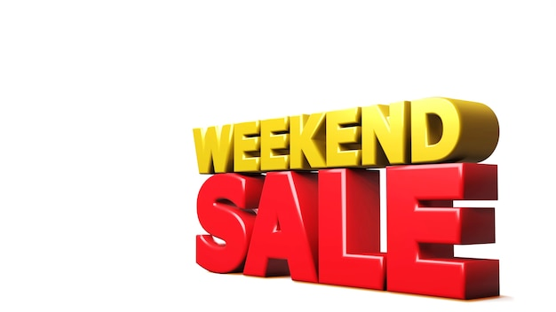 Rendering 3d vendita di fine settimana isolata su bianco. illustrazione 3d Foto Premium