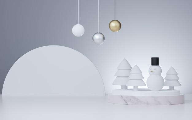 Studio rendering 3d mock up sfondo natalizio per la presentazione del prodotto Foto Premium