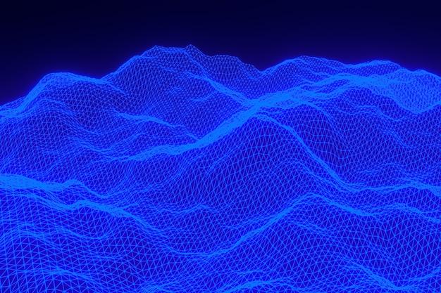 Rendering 3d di paesaggio digitale sfondo astratto con punti di particelle Foto Premium