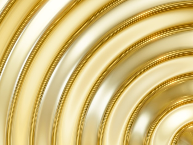Rendering 3d astratto oro e argento sfondo curva metallica Foto Premium